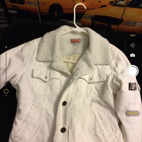 adriana usa Jackets & Blazers - White corduroy w/wool collar jacket.